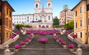 Wallpaper architecture, The Spanish Steps, Rome, stage, Rome, home, The Spanish steps, Italy, flowers