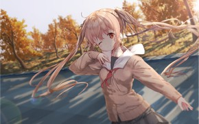 Picture autumn, art, girl, kantai collection, murasame