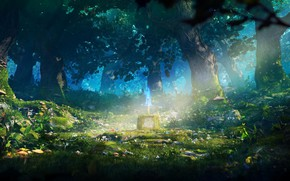 Picture forest, trees, flowers, eyes, mushrooms, ray, sword, pedestal, The Legendary Sword