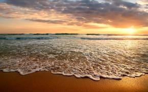 Picture sand, sea, beach, the sky, sunset, shore, beach, sea, sunset, seascape, sand
