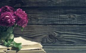 Picture roses, vintage, wood, flowers, beautiful, purple, book