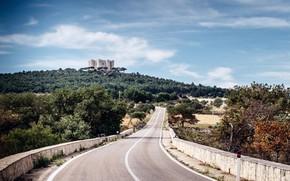 Picture forest, road, sky, trees, landscape, Italy, nature, clouds, castle, architecture, history, Italia, Puglia, Castel del …
