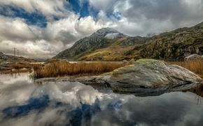 Picture lake, stone, mountain, Wales, Trifan