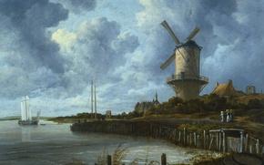 Picture landscape, oil, picture, canvas, Jacob van Ruisdael, Mill at Wijk-Bay-Duurstede