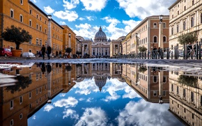 Picture reflection, Rome, The Vatican, St. Peter's Cathedral, The Basilica of San Pietro, St. Peter's Basilica, ...