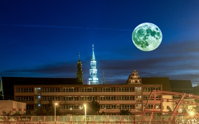 Picture the sky, night, lights, the moon, home, Germany, lights, Zwickau