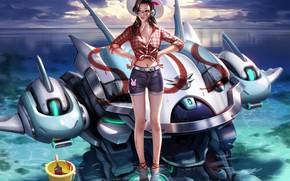Picture sea, summer, the sky, water, girl, clouds, shorts, robot, shirt, overwatch, D.Va, Hana Song, slapo