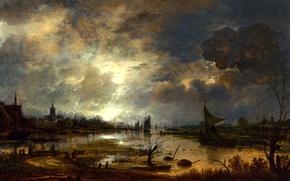 Picture landscape, night, boat, picture, sail, Art van der NEER, Aert van der Neer, The river …