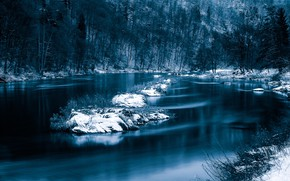 Picture winter, snow, trees, river, Germany, Bayern