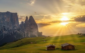 Wallpaper meadows, Alps, field, mountains, greens, the sun, rocks, South Tyrol, clouds, houses, rays, Italy, trees, ...