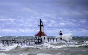 Picture sea, wave, the sky, lighthouse, FL, waves, USA, sky, sea, lighthouses