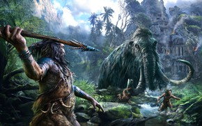 Picture jungle, hunting, ruins, ancient people, mammoth, prehistoric, Ancient Times