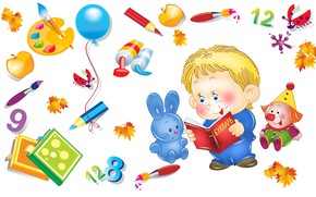 Picture autumn, mood, toy, vector, art, brush, pencil, school, 1 Sep, children's, student, change, the day …