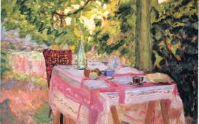Picture summer, table, tree, Nabi intimism, Bonnard Pierre