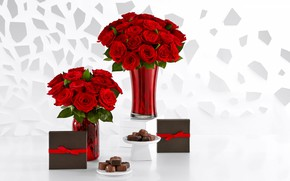 Picture flowers, roses, candy, gifts, red, box, vases, chocolate, bouquets