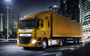 Picture light, night, orange, the city, DAF, tractor, DAF, Silent, 2016, the trailer, 4x2, Euro6, DAF ...