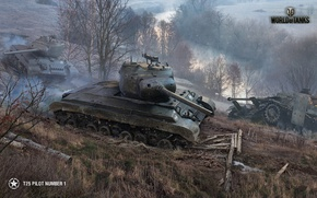 Wallpaper landscape, autumn, river, dirt, tanks, smoke, World of Tanks, T25 Pilot Number 1, trees, road, ...