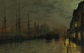 Picture home, ships, picture, promenade, John Atkinson Grimshaw, John Atkinson Grimshaw, Prince's Dock. Hull