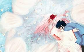 Picture hugs, kimono, in the water, pink hair, closed eyes, Sasuke Uchiha, Sakura Haruno, Naruto Shippuden, ...