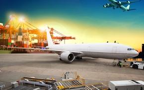 Wallpaper transport, aircraft, flies, cranes, the evening, lights, port, asphalt, container, in the sky