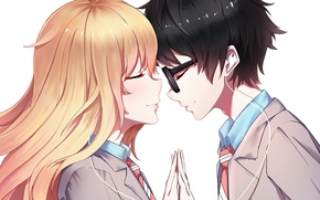 Picture romance, anime, art, pair, two, Shigatsu wa Kimi no Uso, Your April lie