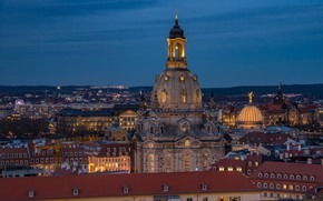Wallpaper the sky, the evening, lights, the city, roof, Dresden, Germany, home, Church