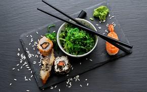 Picture sticks, sushi, rolls