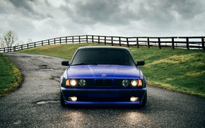 Wallpaper BMW, Classic, Blue, Front, E34, 540i, Hella, Sight