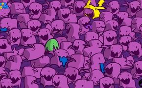 Picture purple, green, teeth, Pikachu, ears, crank, purple, star crafts
