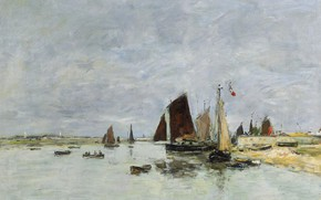 Picture picture, sail, Eugene Boudin, Eugene Boudin, Étaples. Boats in the Port