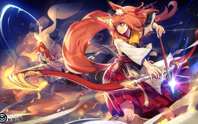 Picture magic, two, bow, tail, arrow, the battle, ears, fox girl, priestess