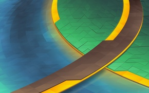 Picture Yellow, Blue, Green, Line, Abstraction, KDE, Triangles, Plasma 5, WHERE Neon