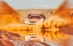 Picture Sand, Sport, Speed, Race, Dirt, Puddle, Peugeot, Squirt, Lights, Red Bull, Rally, Rally, Sport, The …