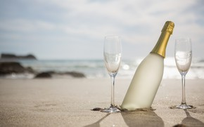 Picture sand, sea, beach, summer, the sky, holiday, glasses, summer, champagne, beach, sky, sea, romantic, sand, …