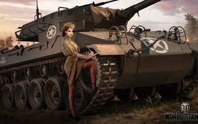 Picture Nikita Bolyakov, art, M18 Hellcat, WOT, World of Tanks, form, figure, girl, PT-ACS, pussy, American