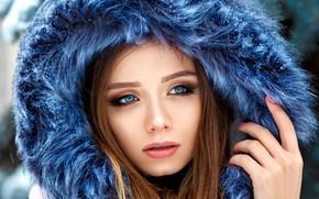 Wallpaper close up, depth of field, portrait, lips, long hair, model, fur, looking away, mouth, hoods, ...