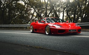 Picture Red, Auto, Machine, Asphalt, 360, Supercar, Modena, The front, Ferrari 360, Suspension, Ferrari Modena 360