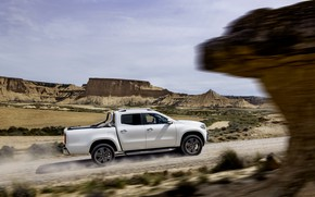 Picture road, white, the sky, clouds, mountains, movement, rocks, vegetation, Mercedes-Benz, valley, pickup, primer, 2017, X-Class
