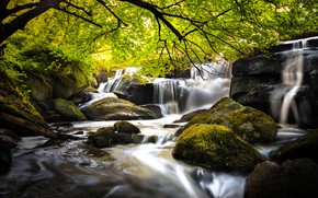 Picture river, stones, tree, France, waterfall, moss, cascade, France, Brittany, Brittany, Saint-Herbot