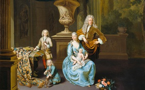 Wallpaper oil, portrait, picture, canvas, Baron Diederik with his Wife and Three Sons, Willem van Mieris