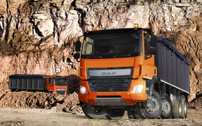 Picture orange, the ground, DAF, DAF, quarry, dump truck, 8x4, Euro6, DAF CF 460 FAD