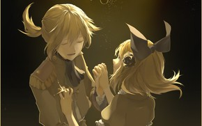 Picture girl, light, night, guy, two, bow, Vocaloid, Vocaloid, Kagamine Len, Kagamine Rin