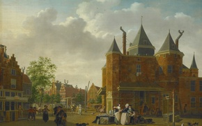 Wallpaper oil, picture, canvas, the urban landscape, Isaac Ouwater, Sint Antoniuswaag in Amsterdam