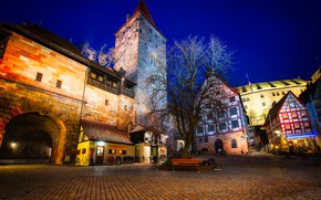 Picture night, lights, tree, home, Germany, area, lights, monument, fortress, benches, bridge, Nuremberg, Nuremberg Castle