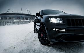 Picture car, machine, auto, city, car, car, srt, auto, bridge, winter, jeep, grand cherokee, jeep grand …