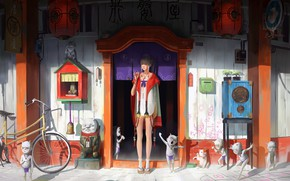 Picture girl, fantasy, bicycle, dress, legs, artist, blonde, artwork, fantasy art, door, braids, kimono, goblin, Zeen …