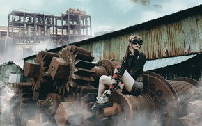 Picture girl, style, glasses, steampunk, Asian, hardware