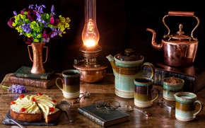 Picture flowers, lamp, coffee, bouquet, kettle, glasses, tulips, cake, book, still life