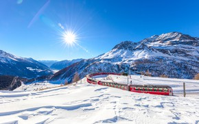Picture winter, the sky, the sun, rays, snow, trees, mountains, train, Switzerland, valley, Alps, railroad, Graubunden