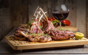 Picture wine, glass, meat, tomato